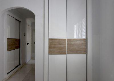 Gloss sliding wardrobes Marbella Oak infill