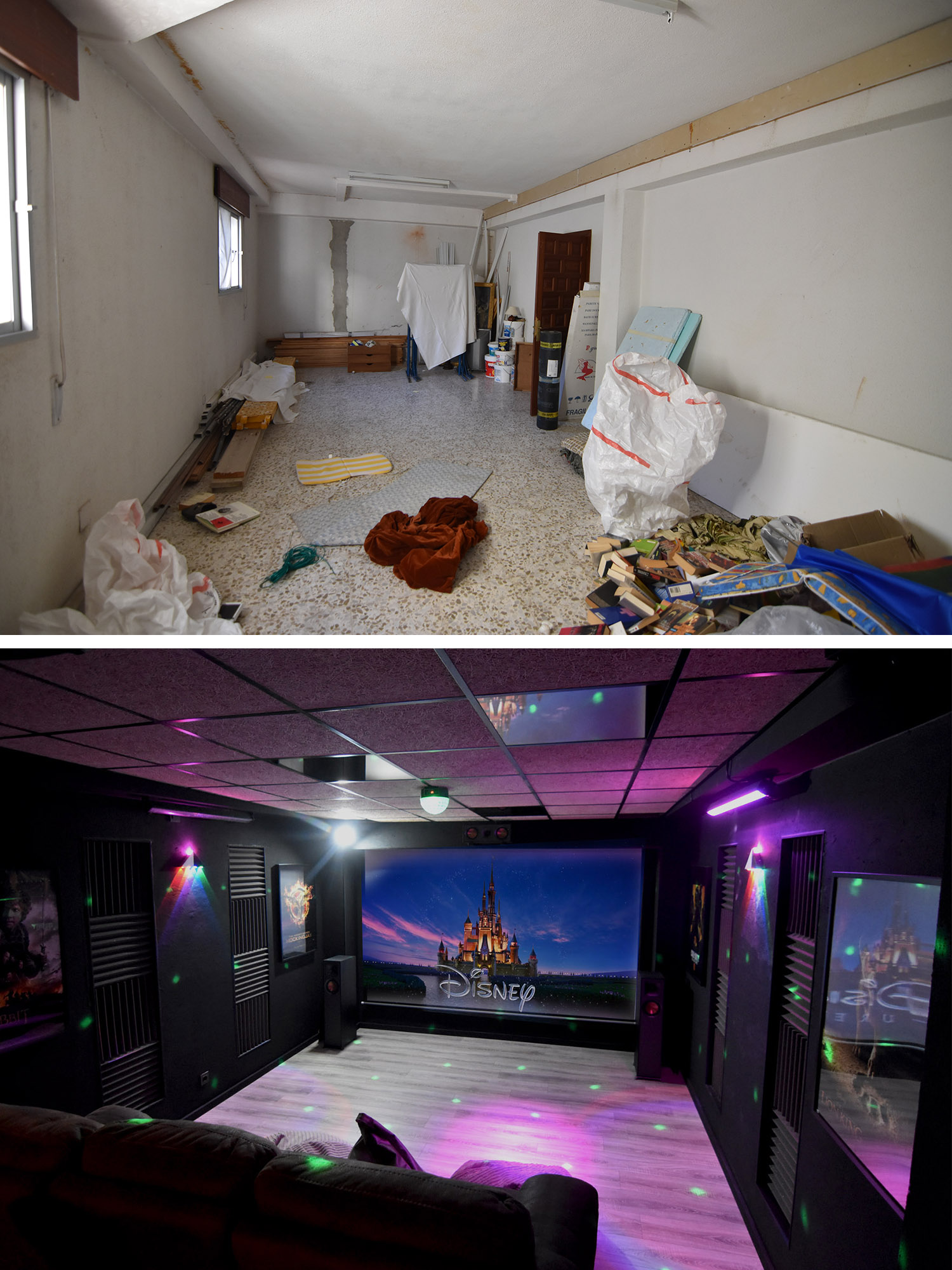 Basement to cine before and after